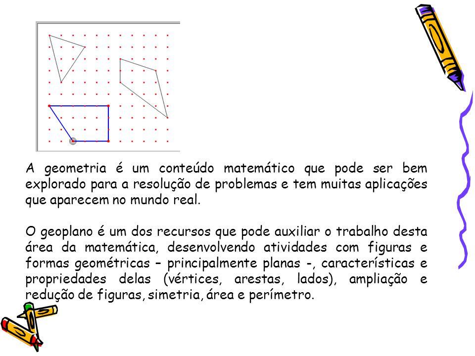 A geometria é um conteúdo matemático que pode ser bem explorado para a resolução de problemas e tem muitas aplicações que aparecem no mundo real.