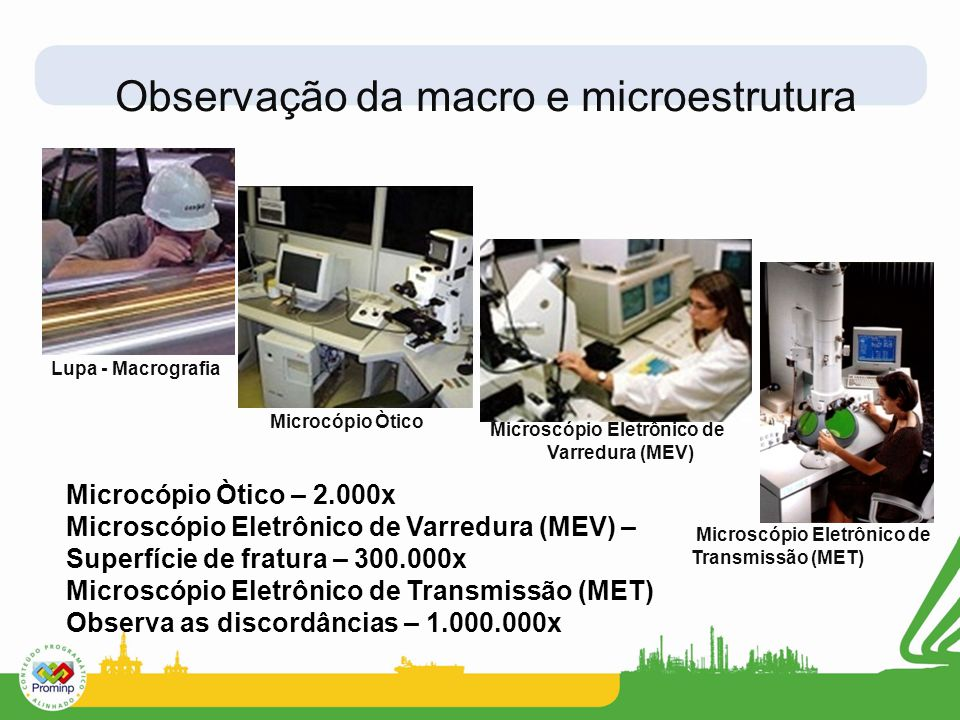 Observação da macro e microestrutura