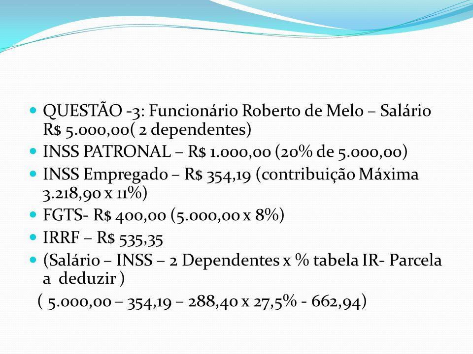 QUESTÃO -3: Funcionário Roberto de Melo – Salário R$ 5