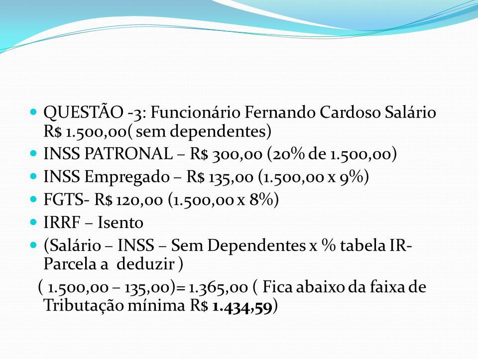 QUESTÃO -3: Funcionário Fernando Cardoso Salário R$ 1