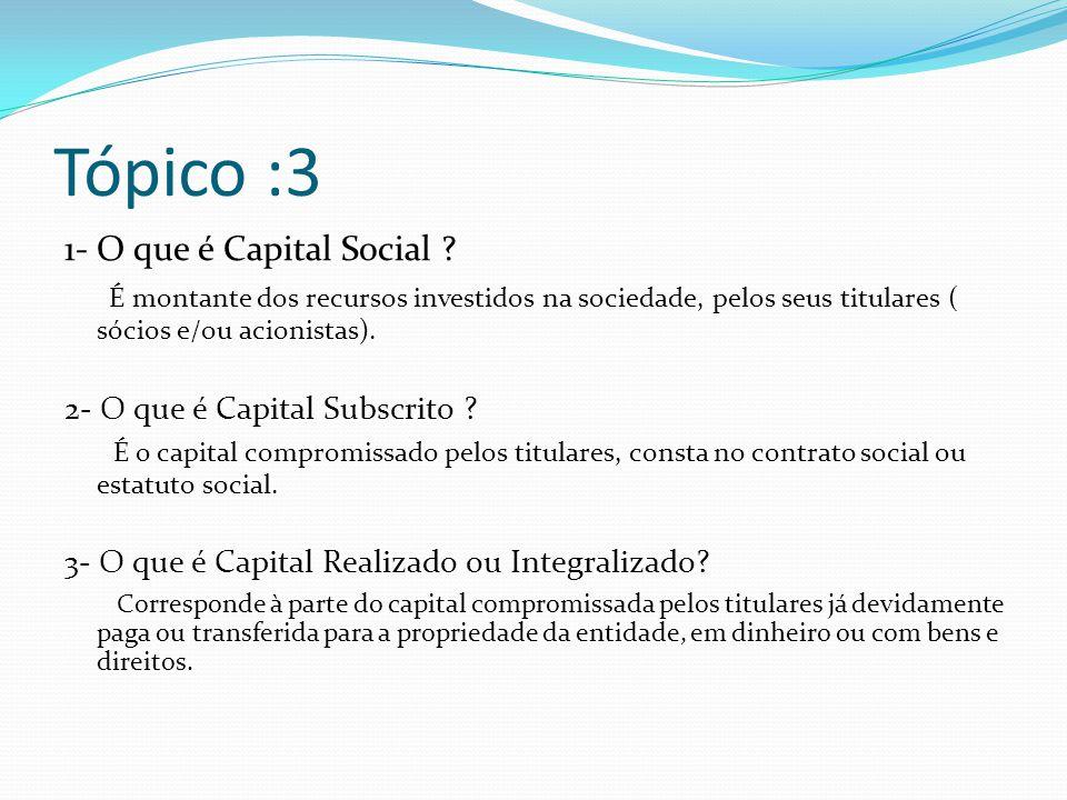 Tópico :3 1- O que é Capital Social