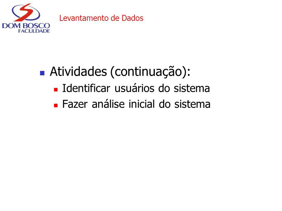 Atividades (continuação):