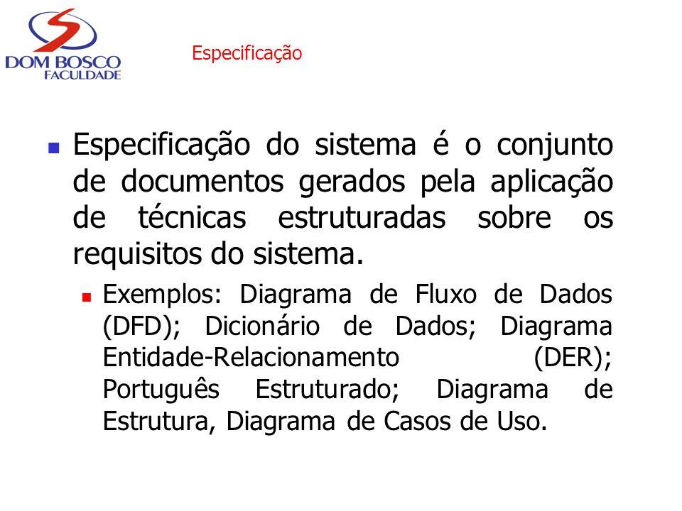 Especificação Especificação do sistema é o conjunto de documentos gerados pela aplicação de técnicas estruturadas sobre os requisitos do sistema.