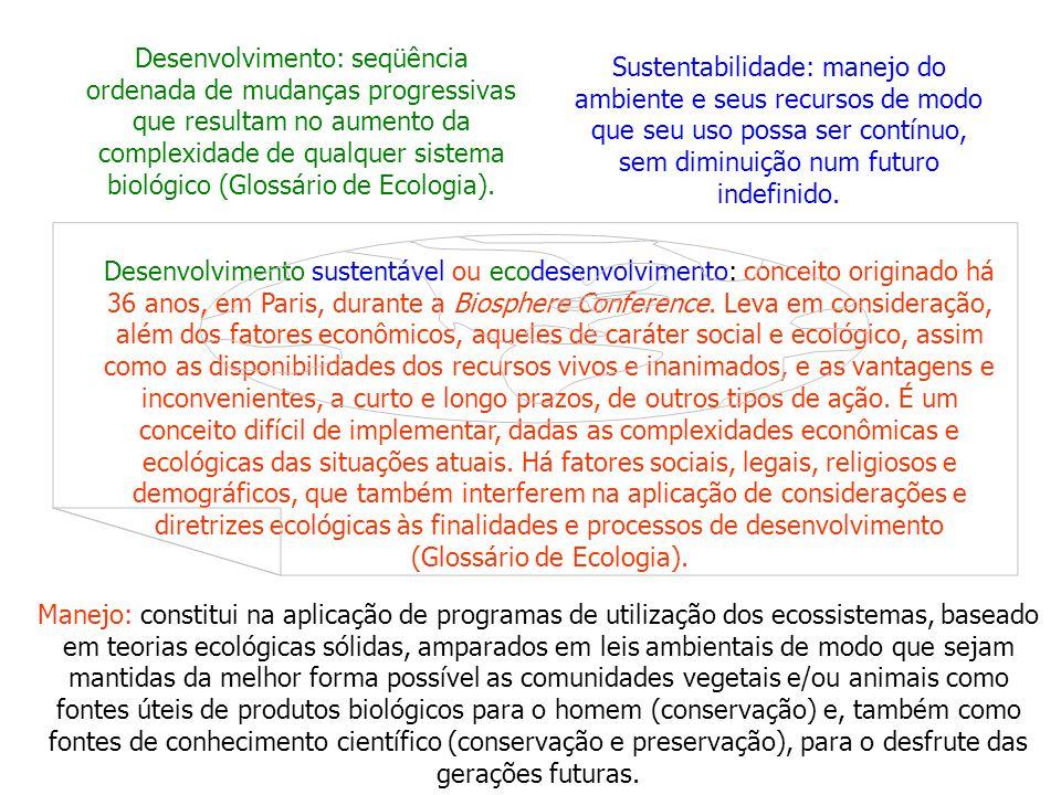 Desenvolvimento: seqüência ordenada de mudanças progressivas que resultam no aumento da complexidade de qualquer sistema biológico (Glossário de Ecologia).