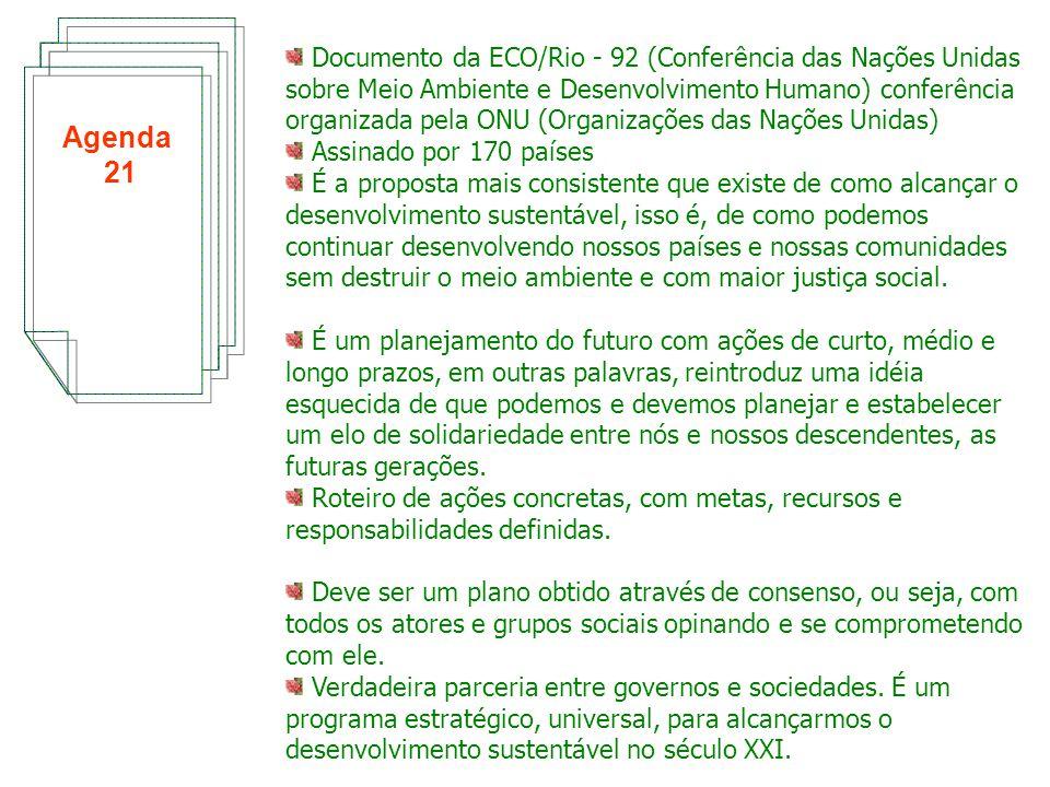 Documento da ECO/Rio ‑ 92 (Conferência das Nações Unidas sobre Meio Ambiente e Desenvolvimento Humano) conferência organizada pela ONU (Organizações das Nações Unidas)