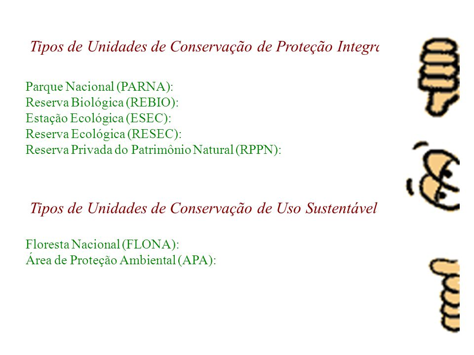Tipos de Unidades de Conservação de Proteção Integral