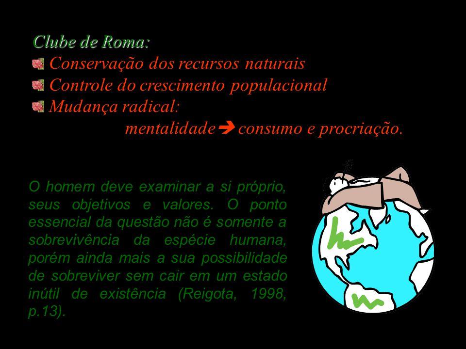 Conservação dos recursos naturais Controle do crescimento populacional