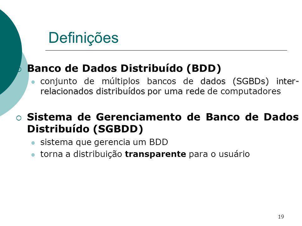 Definições Banco de Dados Distribuído (BDD)