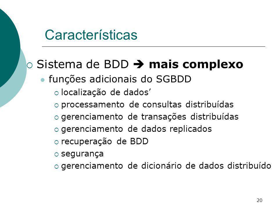 Características Sistema de BDD  mais complexo
