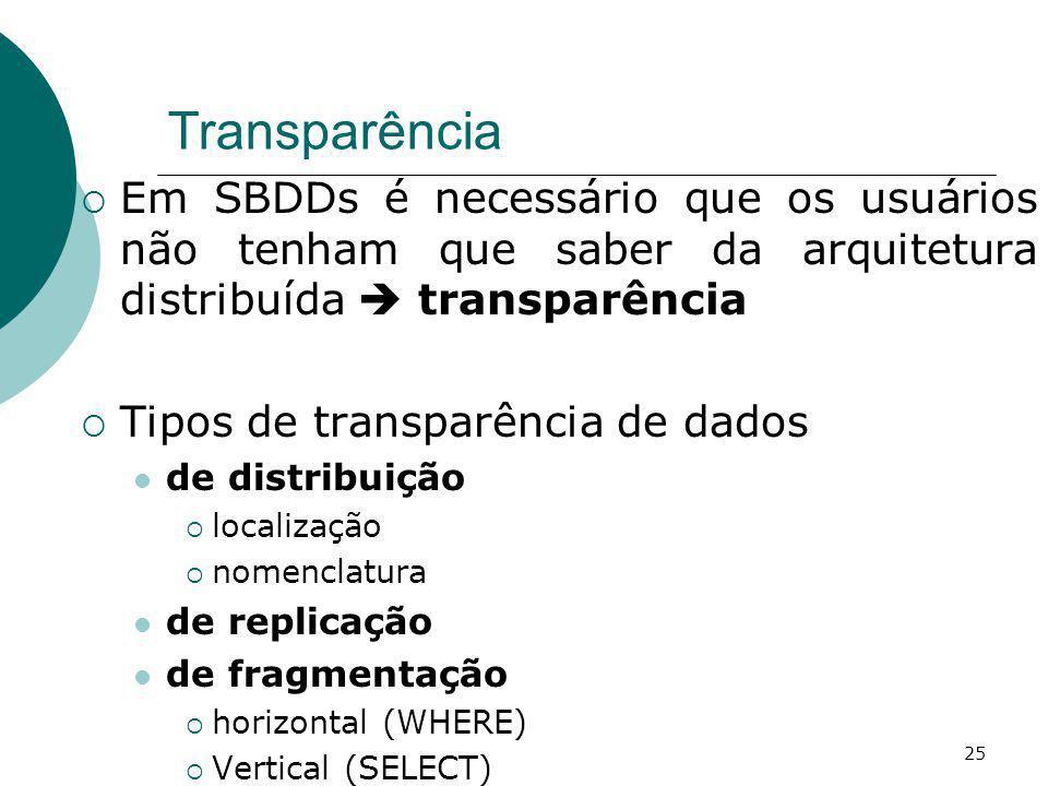 Transparência Em SBDDs é necessário que os usuários não tenham que saber da arquitetura distribuída  transparência.
