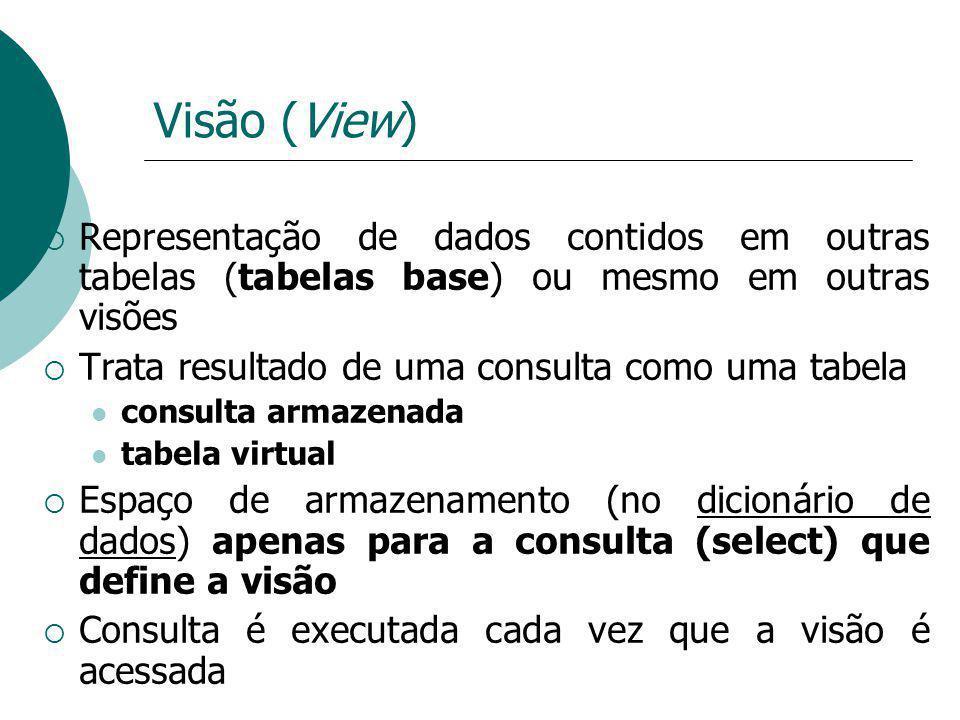 Visão (View) Representação de dados contidos em outras tabelas (tabelas base) ou mesmo em outras visões.