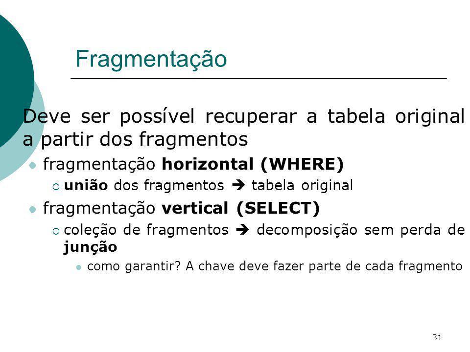 Fragmentação Deve ser possível recuperar a tabela original a partir dos fragmentos. fragmentação horizontal (WHERE)