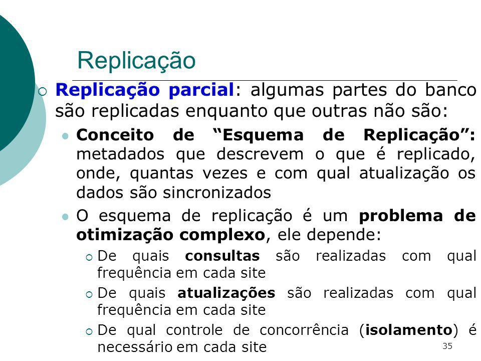 Replicação Replicação parcial: algumas partes do banco são replicadas enquanto que outras não são: