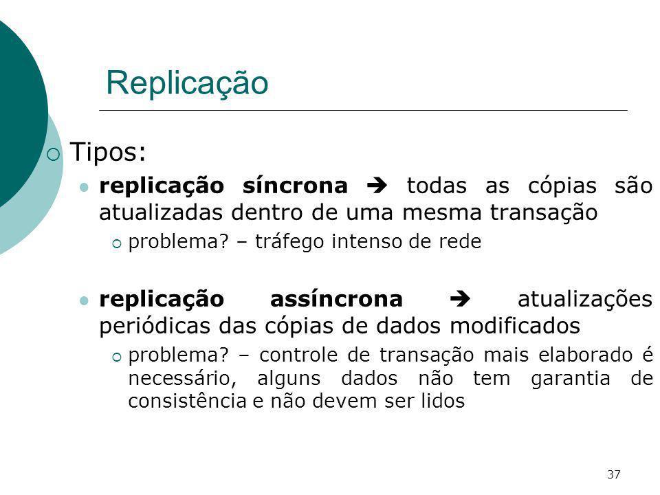 Replicação Tipos: replicação síncrona  todas as cópias são atualizadas dentro de uma mesma transação.