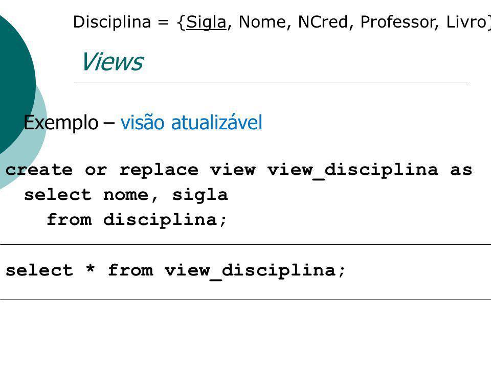Disciplina = {Sigla, Nome, NCred, Professor, Livro}