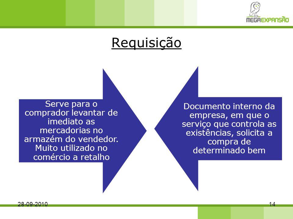 Requisição Serve para o comprador levantar de imediato as mercadorias no armazém do vendedor. Muito utilizado no comércio a retalho.