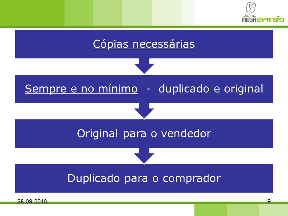 Cópias necessárias Sempre e no mínimo - duplicado e original. Original para o vendedor. Duplicado para o comprador.