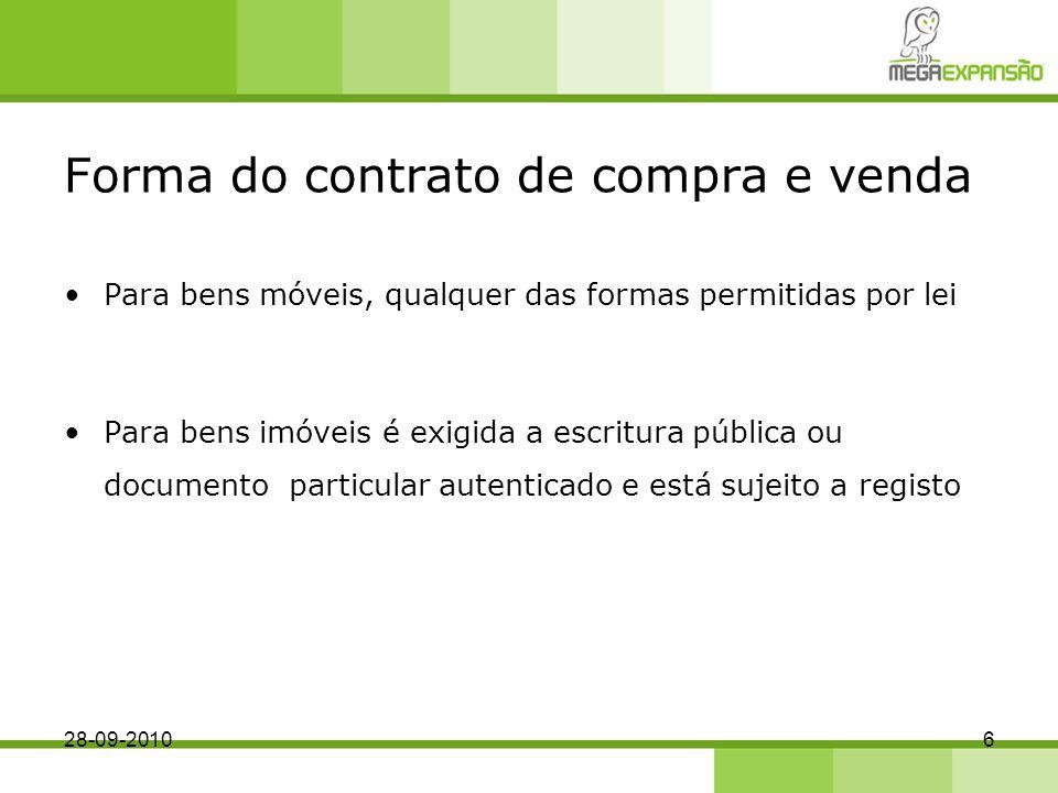 Forma do contrato de compra e venda