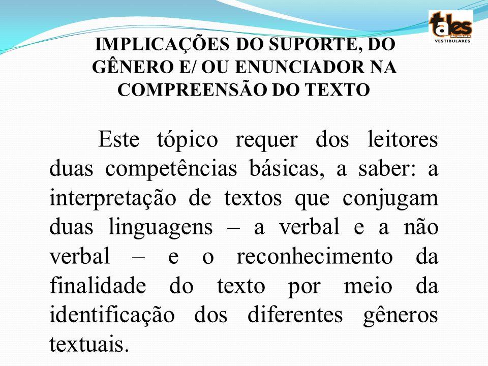 IMPLICAÇÕES DO SUPORTE, DO GÊNERO E/ OU ENUNCIADOR NA COMPREENSÃO DO TEXTO