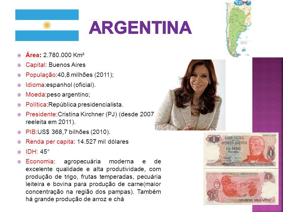 ARGENTINA Área: 2.780.000 Km² Capital: Buenos Aires