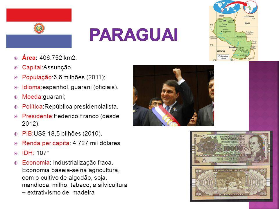 PARAGUAI Área: 406.752 km2. Capital:Assunção.