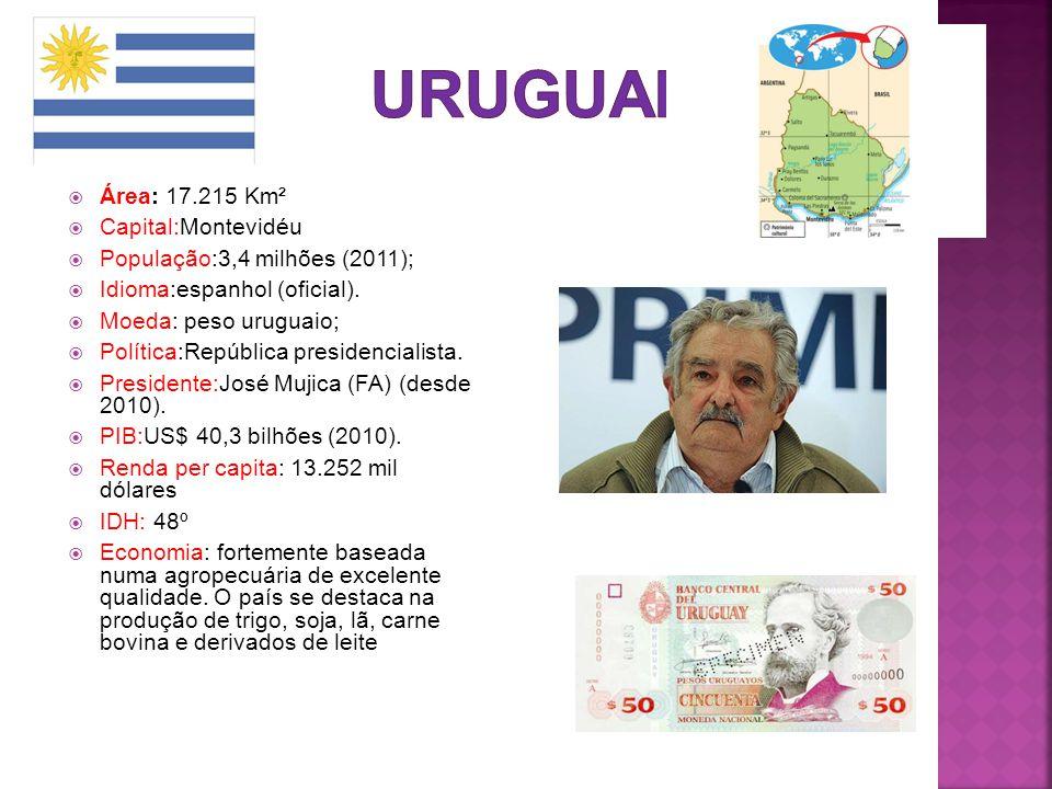 URUGUAI Área: 17.215 Km² Capital:Montevidéu