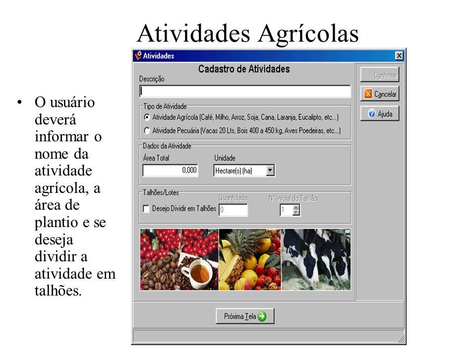 Atividades Agrícolas O usuário deverá informar o nome da atividade agrícola, a área de plantio e se deseja dividir a atividade em talhões.
