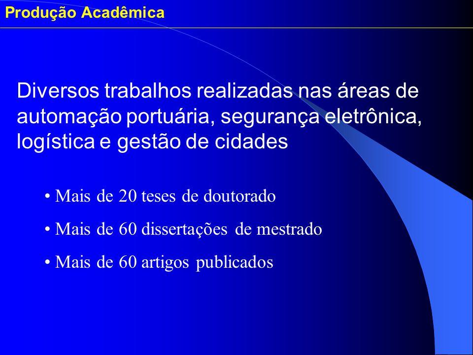 Produção Acadêmica Diversos trabalhos realizadas nas áreas de automação portuária, segurança eletrônica, logística e gestão de cidades.