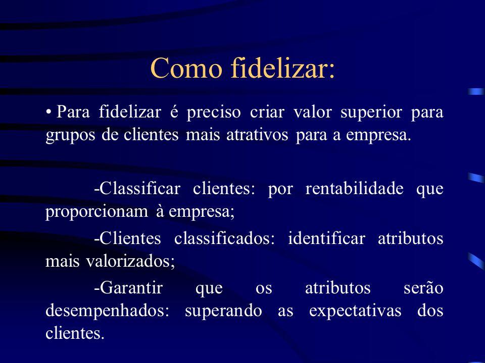 Como fidelizar: Para fidelizar é preciso criar valor superior para grupos de clientes mais atrativos para a empresa.