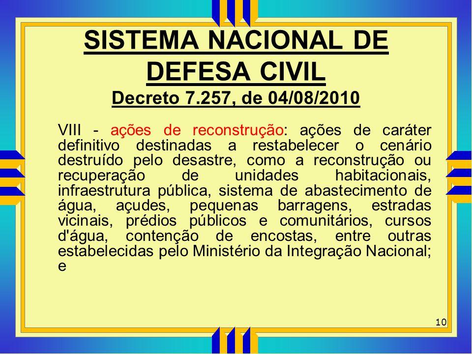 SISTEMA NACIONAL DE DEFESA CIVIL Decreto 7.257, de 04/08/2010