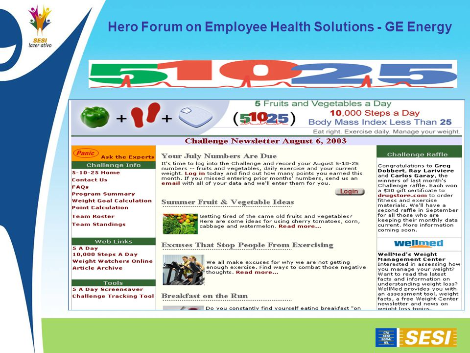 Hero Forum on Employee Health Solutions - GE Energy
