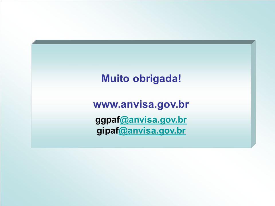 Muito obrigada! www.anvisa.gov.br