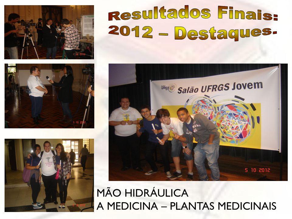 Resultados Finais: 2012 – Destaques. MÃO HIDRÁULICA