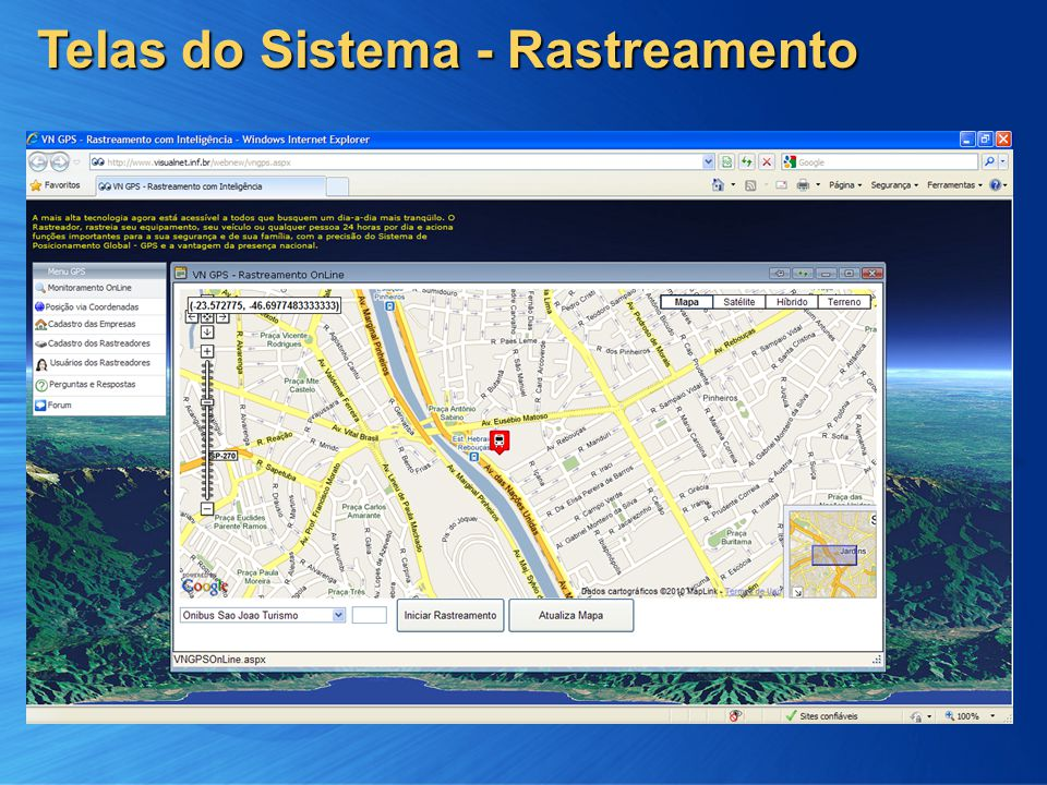 Telas do Sistema - Rastreamento