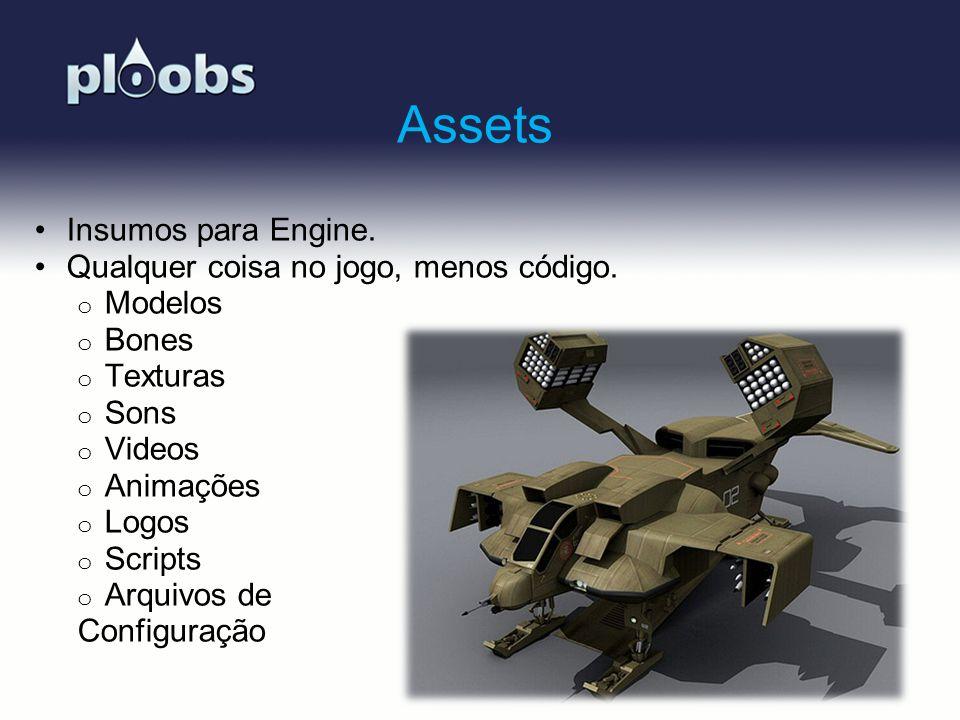 Assets Insumos para Engine. Qualquer coisa no jogo, menos código.