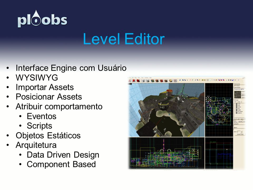Level Editor Interface Engine com Usuário WYSIWYG Importar Assets