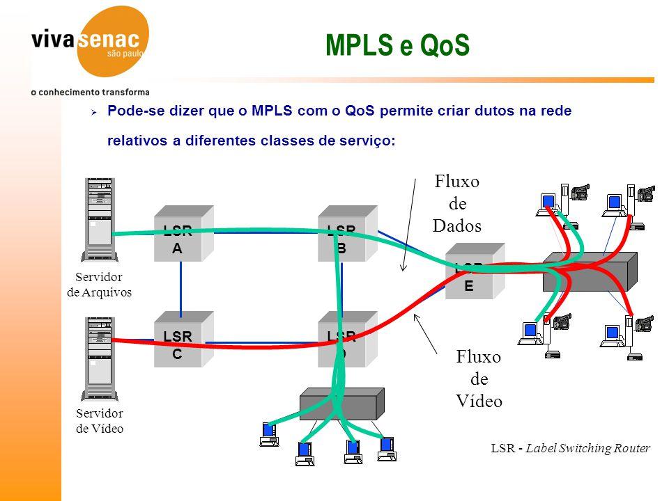 MPLS e QoS Fluxo de Dados Fluxo de Vídeo