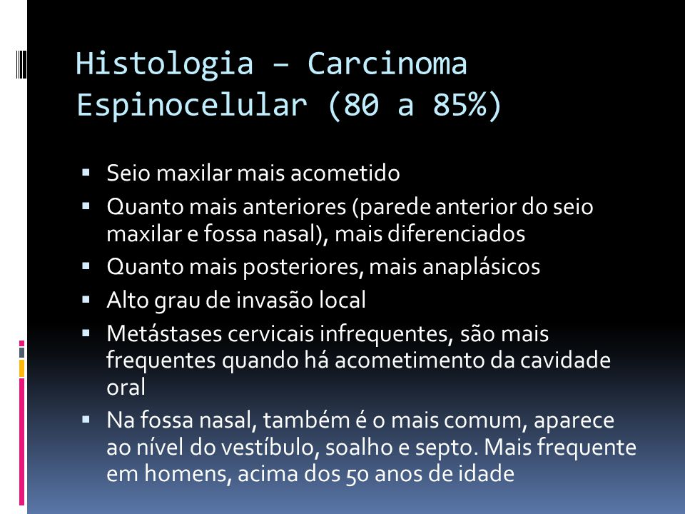 Histologia – Carcinoma Espinocelular (80 a 85%)