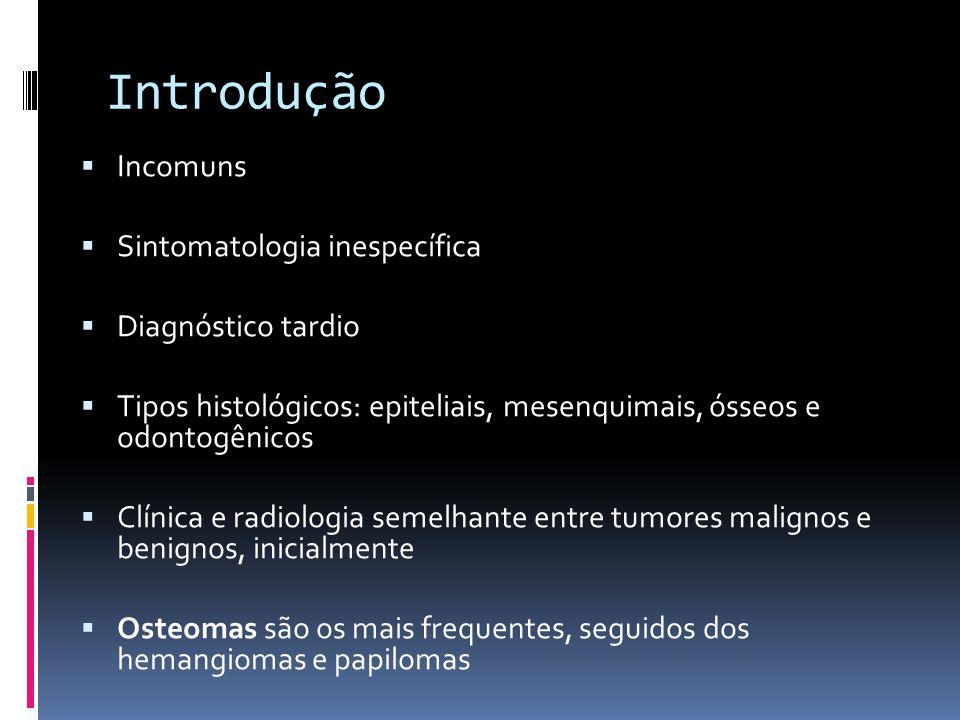 Introdução Incomuns Sintomatologia inespecífica Diagnóstico tardio