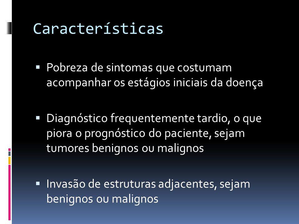 Características Pobreza de sintomas que costumam acompanhar os estágios iniciais da doença.