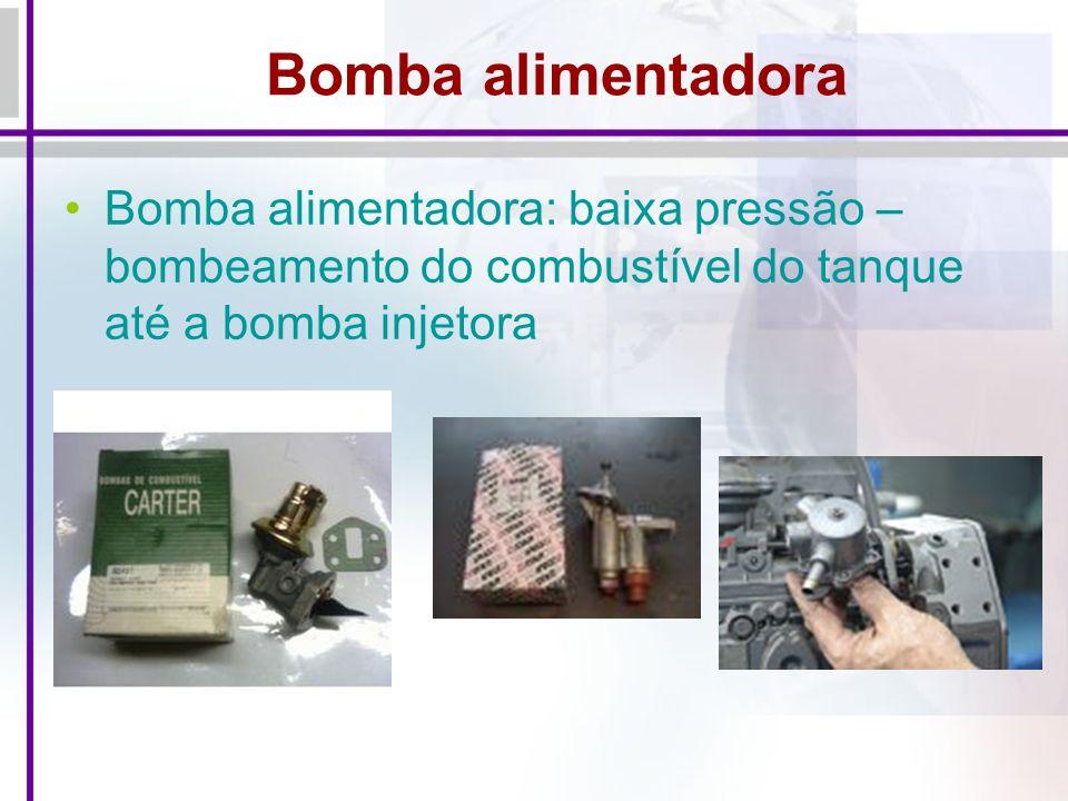 Bomba alimentadora Bomba alimentadora: baixa pressão – bombeamento do combustível do tanque até a bomba injetora.