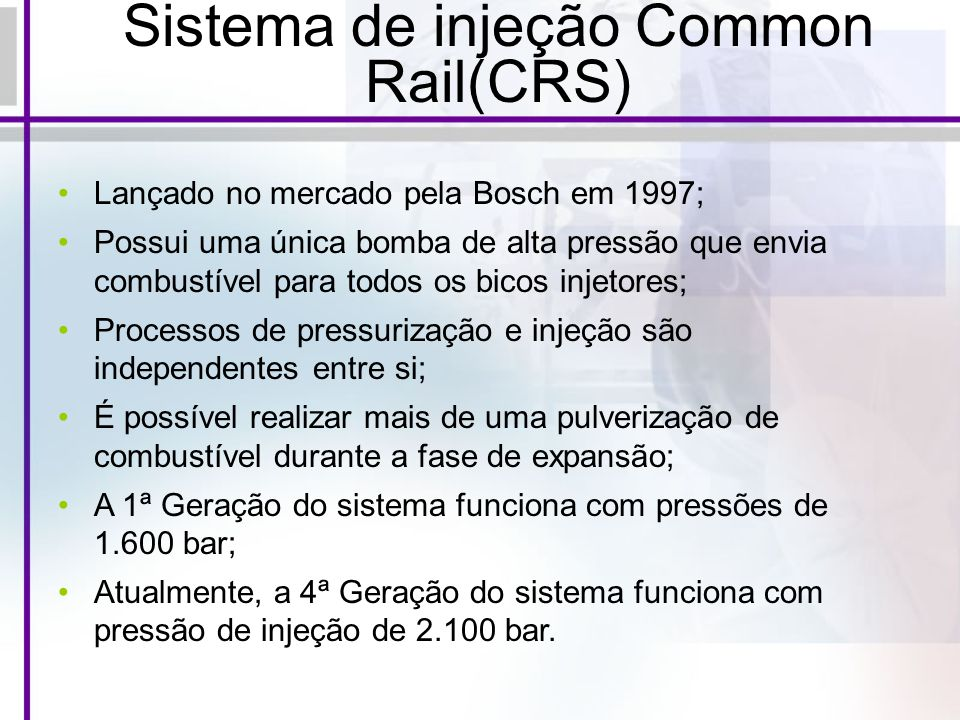 Sistema de injeção Common Rail(CRS)