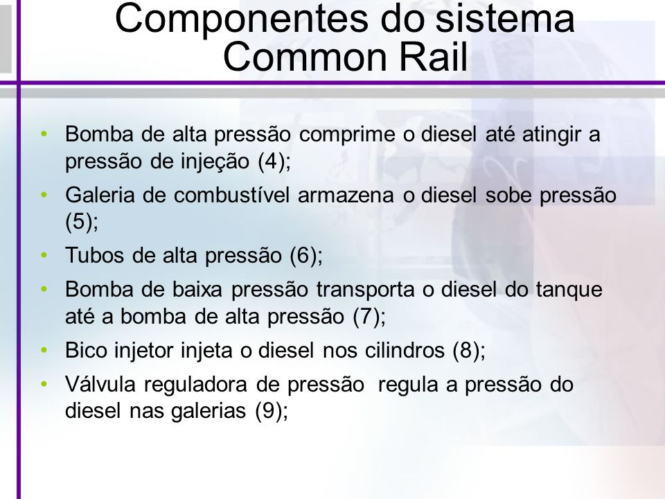 Componentes do sistema Common Rail