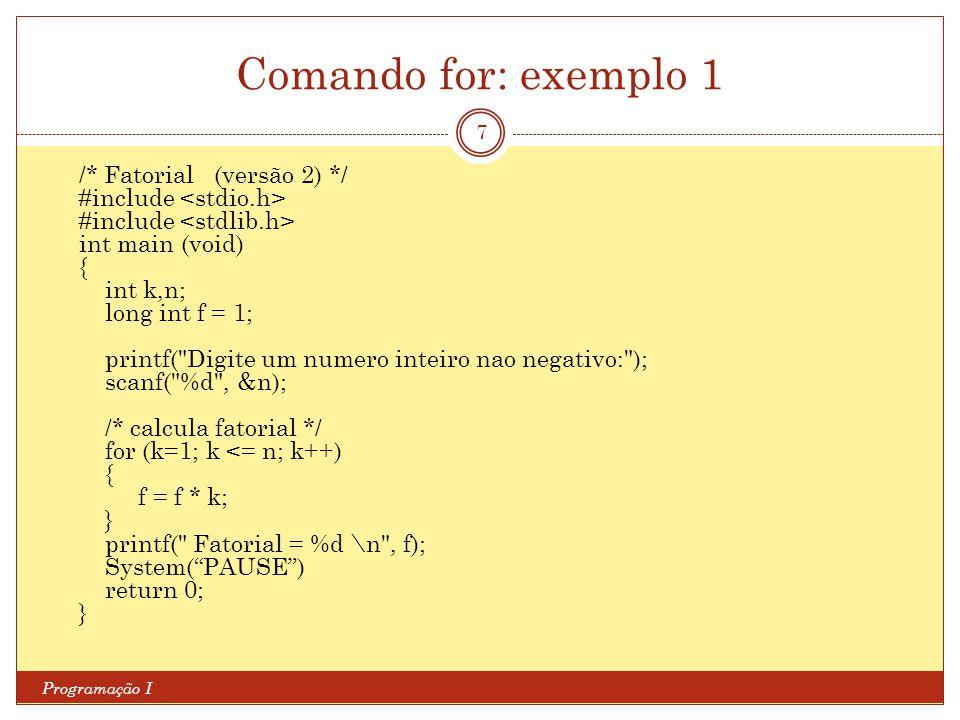 Comando for: exemplo 1