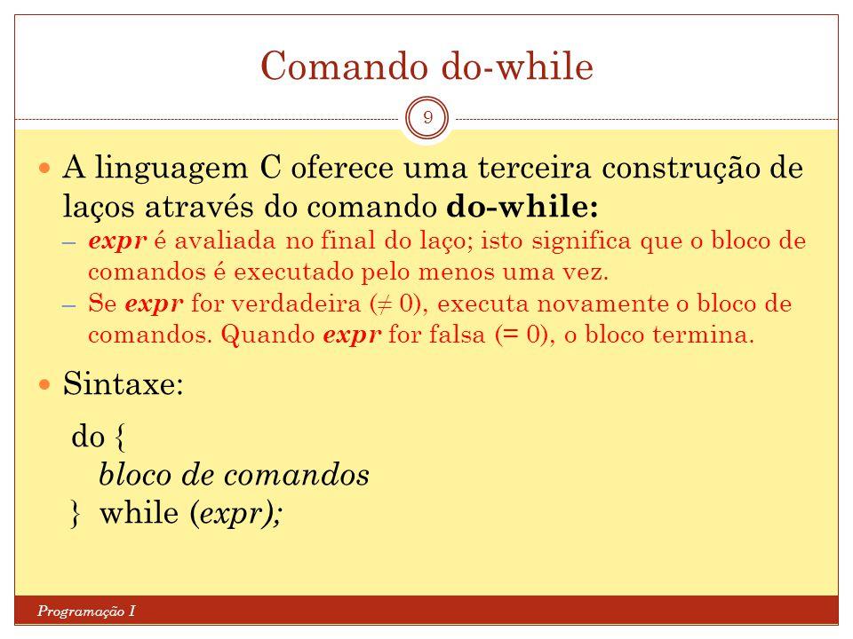 Comando do-while A linguagem C oferece uma terceira construção de laços através do comando do-while: