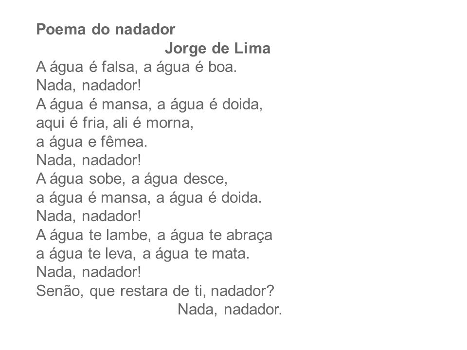 Poema do nadador Jorge de Lima.