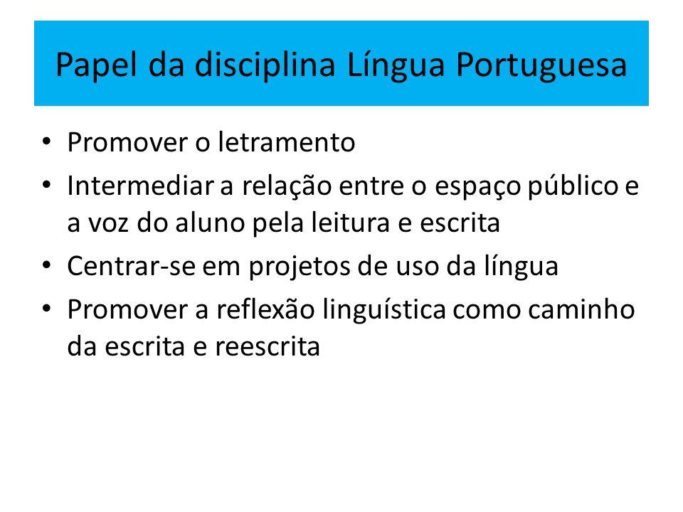 Papel da disciplina Língua Portuguesa