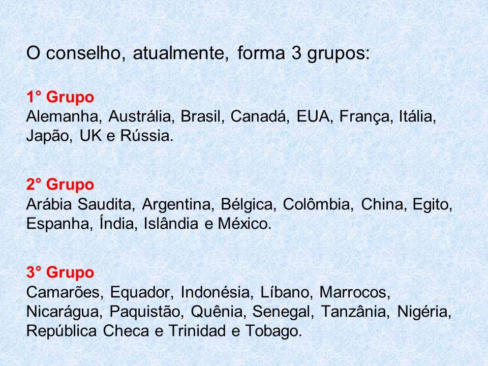 O conselho, atualmente, forma 3 grupos: 1° Grupo Alemanha, Austrália, Brasil, Canadá, EUA, França, Itália, Japão, UK e Rússia.