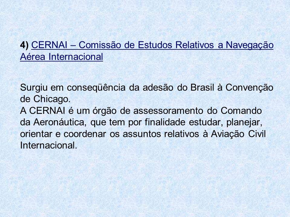 4) CERNAI – Comissão de Estudos Relativos a Navegação Aérea Internacional Surgiu em conseqüência da adesão do Brasil à Convenção de Chicago.