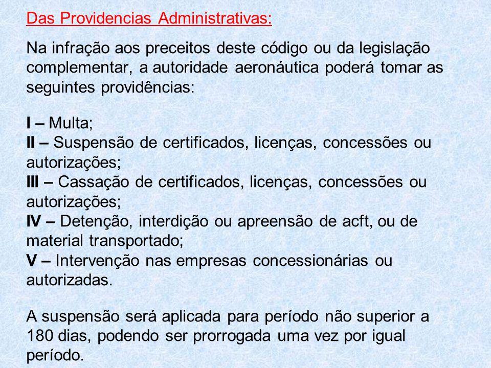 Das Providencias Administrativas: Na infração aos preceitos deste código ou da legislação complementar, a autoridade aeronáutica poderá tomar as seguintes providências: I – Multa; II – Suspensão de certificados, licenças, concessões ou autorizações; III – Cassação de certificados, licenças, concessões ou autorizações; IV – Detenção, interdição ou apreensão de acft, ou de material transportado; V – Intervenção nas empresas concessionárias ou autorizadas.